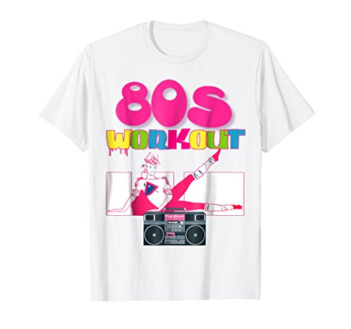 Mens Cute Neon Women 80s Workout TShirt Outfit Costume Top 2XL White -