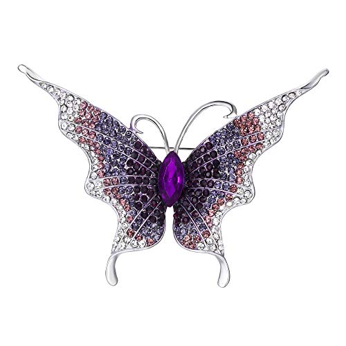 EVER FAITH Women's Austrian Crystal Butterfly Insect Brooch Violet-Color Silver-Tone ()