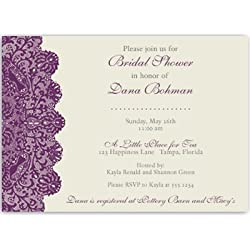Bridal Shower Invitations, Lace, Plum, Purple, Eggplant, Ivory, Wedding, Vintage, Classic, Personalized, Customized, Set of 10 Printed Invites with Envelopes, Lovely Lace