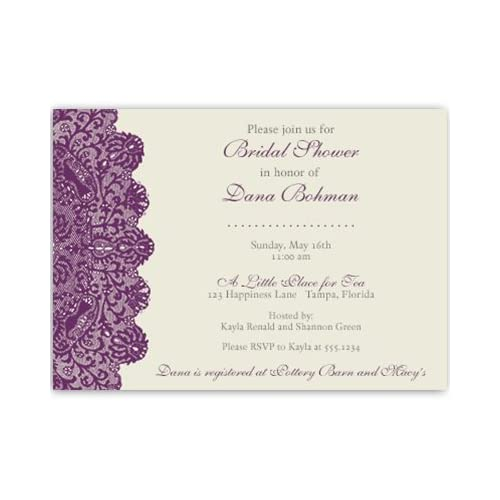 bridal shower invitations lace plum purple eggplant ivory wedding