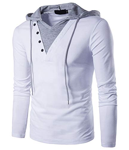 QPNGRP Mens Hoodie Shirt Long Sleeve Hooded T-Shirt B24 White Large