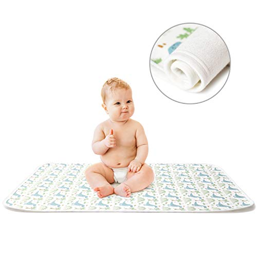Portable Changing Pad for Diaper Bag, Mifiatin Baby Diaper Changing Mat, Diaper Travel Changing Station,Waterproof Light Nappy Care Kit for Infants & Newborns-Dinosaur(50x70cm)
