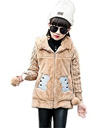 Face Dream Kids Girls Winter Warm Knited Fur Cartoon Coats Hooded Snowsuit Jackets Outerwear