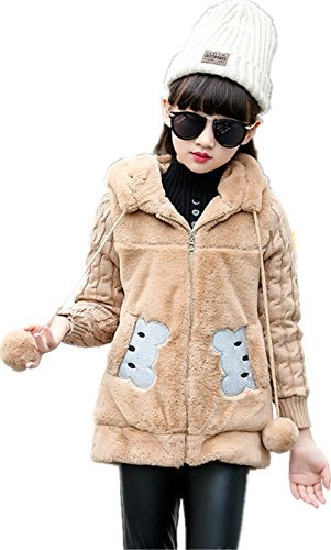 Face Dream Kids Girls Winter Warm Knited Fur Cartoon Coats Hooded Snowsuit Jackets ()