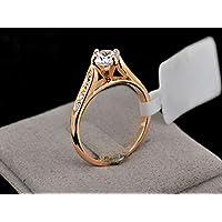 خاتم خطوبة مطلي بالذهب 24K، مقاس 8
