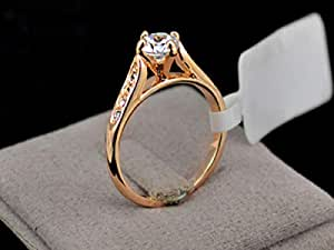Ring for women Diamond Wedding 24K Gold Plated, Size 6.5