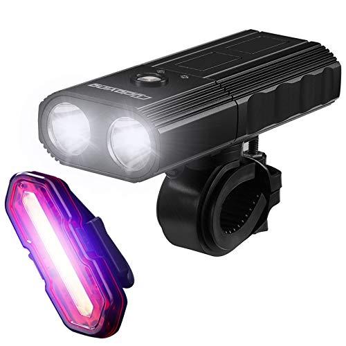YLYBDDD C268 Bike Light Bicycle LED Lights 4Modes Waterproof IPX3 2200Lums Power Bank 4000Mah MTB Bike Accessories C268 n Tail Red Blue