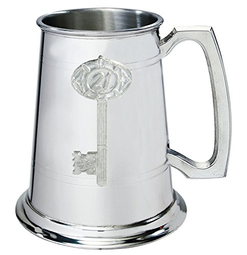 21st Birthday key 1pt Pewter Tankard Plain With Embossed Key Can Be Engraved