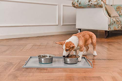 41BzhrDSOsL - No Spill Non-Skid Stainless Steel Deep Dog Bowls
