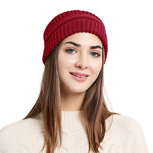 Double Couple Women Beanie Hat Winter Knit Beanies Overiszed Slouchy Skull Cap Unisex Hats (Burgundy)