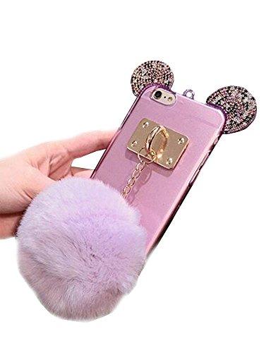 Jesiya Iphone 6/6s Case Fur TPU,Super Cute 3D Handmade Diamond ears Handcraft With Metal Ring Metal Buckle Pendant Fur Plush Ball Clear Cover case for…