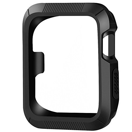 OULUOQI for Apple Watch Case 42mm, Shock-proof and Shatter-resistant Apple Watch Protector iWatch Case Cover for Apple Watch Series 3, Series 2, Series 1, Nike+, Sport, Edition - Black / Black