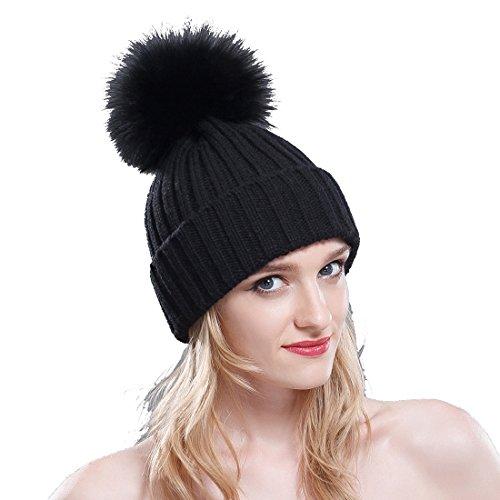 URSFUR Thermal Winter Fur Hat Fox Raccoon Fur Ball Female Knitted Hat Lovers Hat (Black & Black Fox Ball) ()