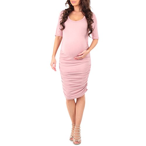 (Women's Super Soft Side Ruched Maternity Dress by Mother Bee - Made in USA)