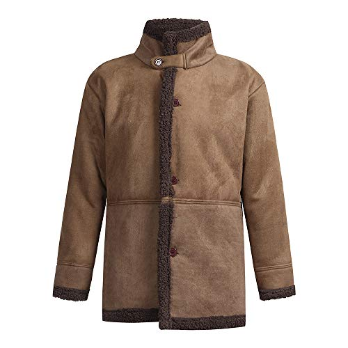 WaiiMak Fashion Warm Winter Sheepskin Jacket Warm Wool Lined Mountain Faux Lamb Jackets Coat (L, Brown)