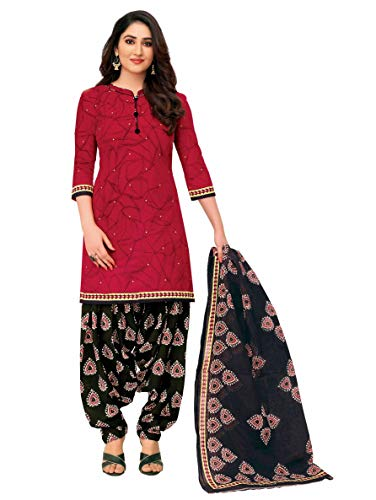 Miraan Women Cotton Unstitched Dress Material (SGPRI705, Red, Free Size)
