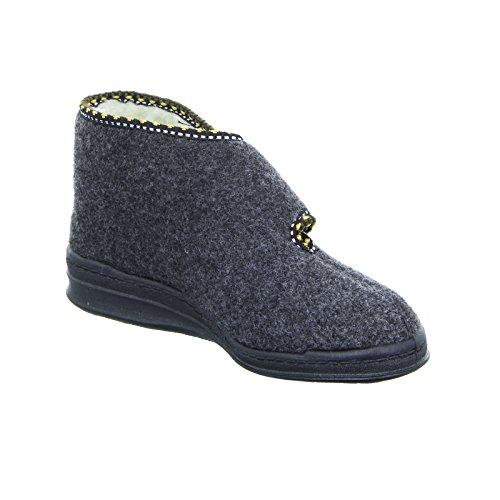 Intermax Damen-Hausschuh-Stiefel mit Klett - Botas para mujer negro - antracita
