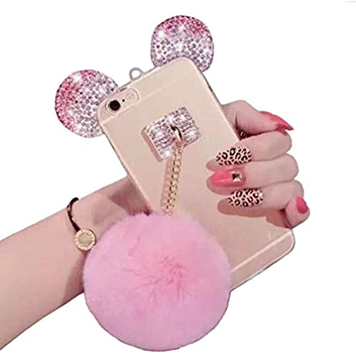 Galaxy S7 Edge case,Jesiya New Fashion Cute 3D Handmade Diamond Bling Bear/Mouse Ears with Fur Hair Plush Ball Sales