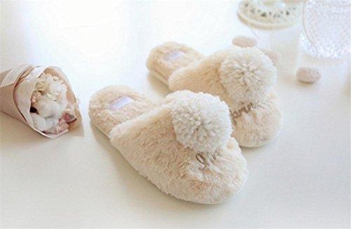 mhgao Lady sintética conejo pelo super suave Zapatillas de algodón caliente en otoño y invierno en casa Cute Fluffy Zapatillas de algodón, 2, grande
