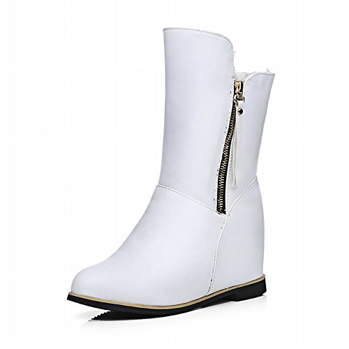 Carolbar Womens Fashion Multi Zipper Comfort Warm Wedge Heel Snow Short Boots White aZDj3E