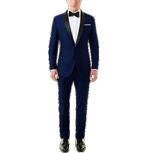 41Bzizc7d3L. SS500  - Menjestic Men's English Blue Tuxedo Blazer with Velvet Shawl Lapel