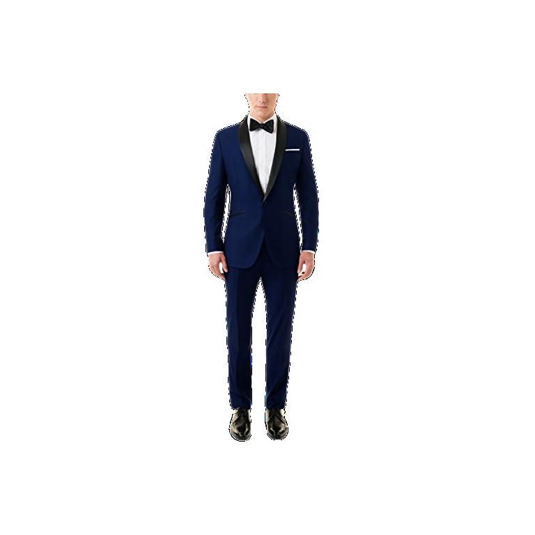 41Bzizc7d3L. SS768  - MENJESTIC Men's English Blue Tuxedo Blazer with Velvet Shawl Lapel