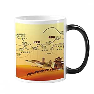 Landmark Camel Desert Journey Silk Road Map Morphing Heat Sensitive Changing Color Mug Cup Gift Milk Coffee With Handles 350 ml