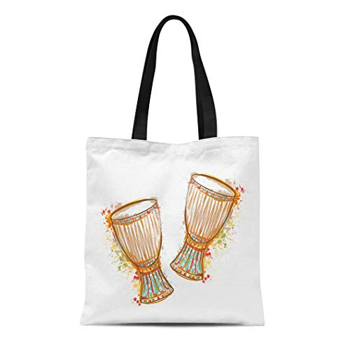 Semtomn Cotton Canvas Tote Bag African Drums Tam Splashes in Watercolor Colorful Music Bongo Reusable Shoulder Grocery Shopping Bags Handbag Printed