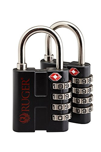 Snapsafe Ruger Tsa Approved 4 Digit  Thick Shackle  Firearm Cases Luggage Backpacks Computer Bags Combination Padlock  2 Pack