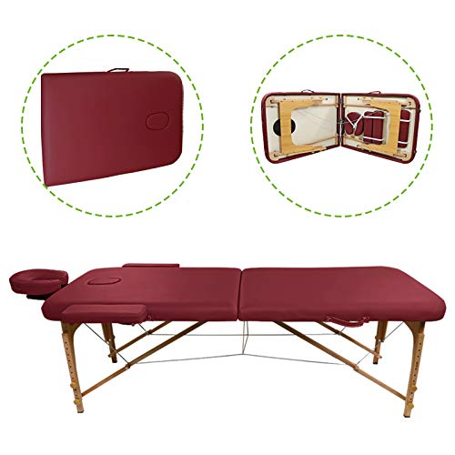 Portable 2-Fold Massage Table Bed Spa Salon Facial Tattoo Physical Therapy (Red)