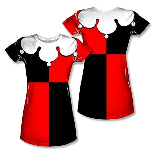 Simply Superheroes Womens harley quinn costume sublimation juniors t shirt Large (Female Villain Costume)