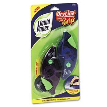 Liquid Paper 87813 DryLine Grip Correction Tape, 1/5-Inch x 335-Inch, Blue/Purple Dispensers, 2/Pack ()