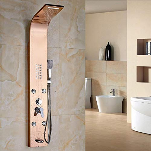 (GFF Single Handle Shower Panel with Massage Jet Wall Mounted Rain Waterfall Shower Column Mixer Faucet, D )