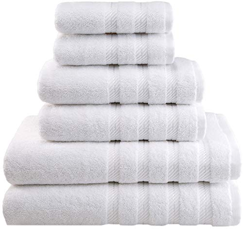 American Soft Linen Towel Set 2 Bath Towels 2 Hand Towels 2 Washcloths Super Soft Absorbent 100% Turkish Cotton Towels for Bathroom and Kitchen Shower Towel [Worth $72.95] Bright White