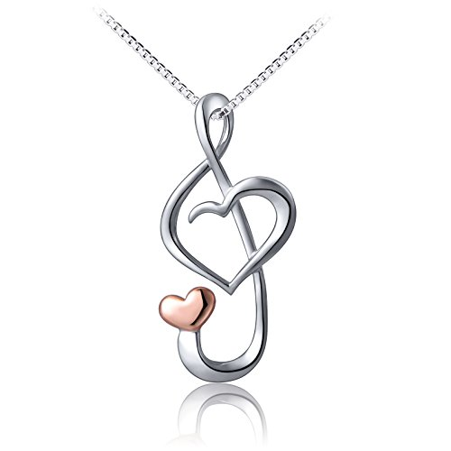 S925 Sterling Silver Musical Note Love Heart Pendant Necklace , Box Chain 18 inches