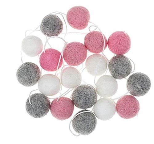 2m//6.6FT Felt Ball Garland Handmade Pom Poms String Fluffy Balls for Home Nursery Birthday Wedding Party Dec Pom Pom Garlands