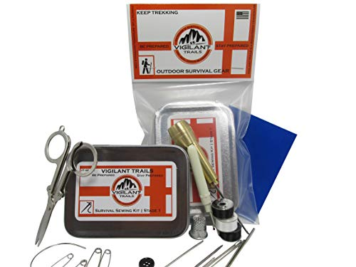 Vigilant Trails Pocket-Survival Sewing Kit   All Metal Sewing Awl   Repair Tents, Sails, Gear, Clothing   Compact  