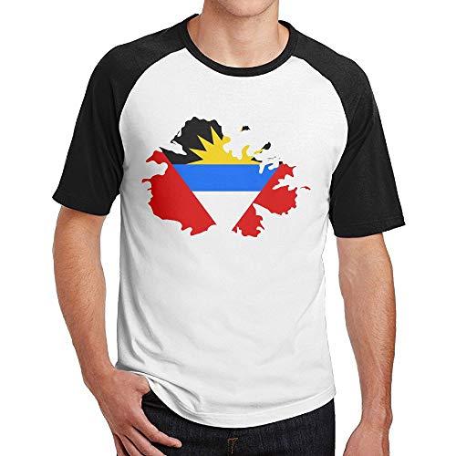 Flag Map of Antigua and Barbuda Mens Fashion Cotton 3D Print Top Tees ()