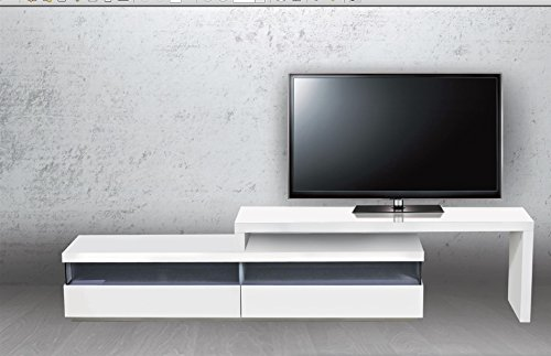 Casabianca Furniture Easy Collection Lacquer Extendable Entertainment Center, White ()