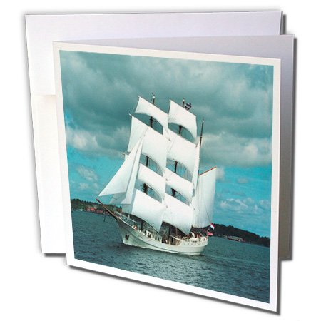 Boat Whaling (3dRose Florene Boat - An Old Whaling Ship - 1 Greeting Card with envelope (gc_80568_5))