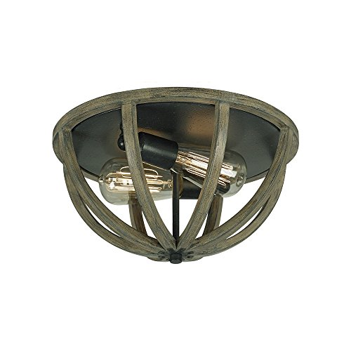 Feiss FM400WOW/AF Allier 2-Light Flushmount, Weather Oak Wood/Antique Forged (Butler 1 Light Sconce)