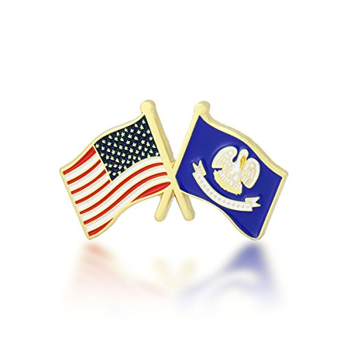 GS-JJ American and Louisiana State Crossed Friendship Flag Enamel Lapel Pin (1 Piece)