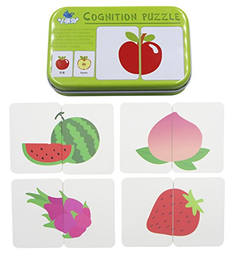 BabyPrice 32pcs Anti-tear Flash Cards Learning Alphabet Puzzle Cards, Jigsaw Shape Matching Puzzle Cognitive Early Educational Learning Toys with Mental Storage Box (fruits & vegetables)
