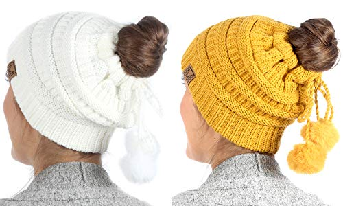 MIRMARU Women's Ponytail Messy Bun Beanie Ribbed Knit Hat Cap with Adjustable Pom Pom String (2 Pack - Off White & Mustard)