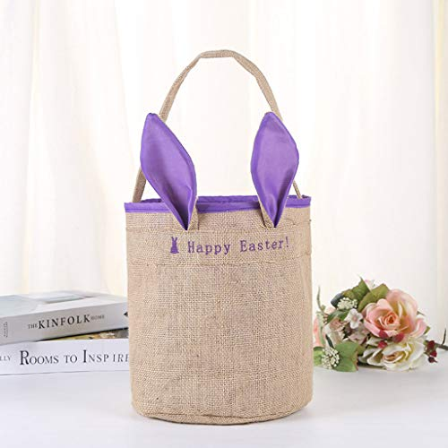 CapsA Easter Rabbit Basket Bunny Ears Bags Personalized Eggs Baskets Bags for Kids Carrying Gifts and Daily Use (Purple)