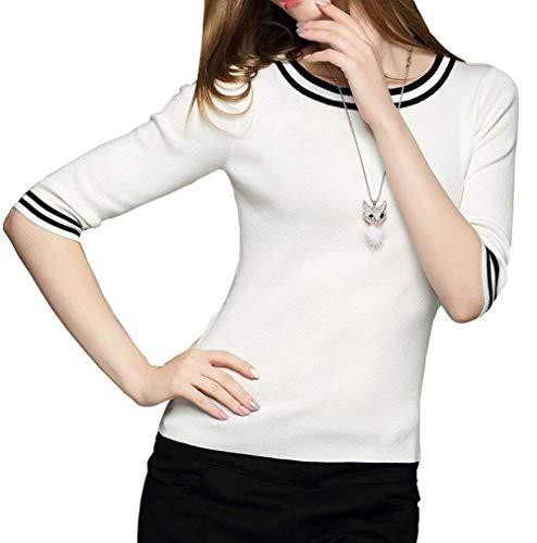 Collo HaiDean Primaverile Maniche Glamorous Maglione Lunghe Rotondo Corto Bluse Donna Fashion Base Shirts Camicia Semplice Bianca Felpe Tops A Autunno Camicetta Tshirt Elegante Casual vtvrp