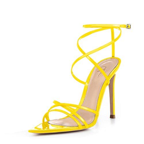 - Women Ankle Strap Stilettos High Heels Criss Cross Sandals Open Toe Bridal Wedding Evening Dress Casual Party Shoes (11, Yellow)