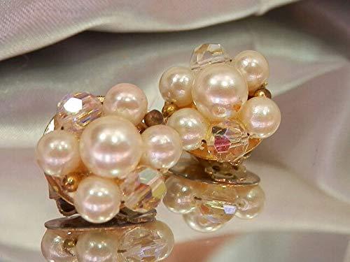 So Pretty Vintage 1950's Signed Lisner Faux Pearl & Crystal Earrings - Lisner Earrings Faux