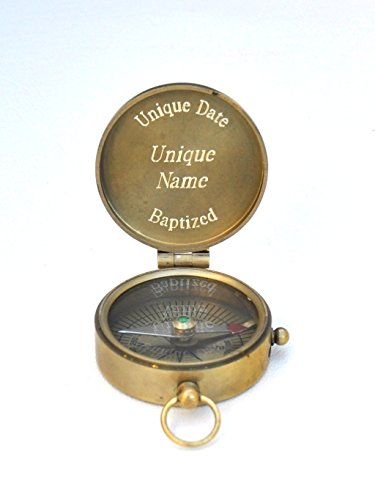 Engraved Antique Brass Pocket Compass (Guard My Way and Guide My Steps, Personalized Baptism Gift)
