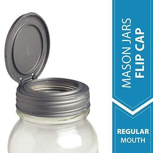 reCAP Mason Jars Lid FLIP Cap, Regular Mouth, Silver